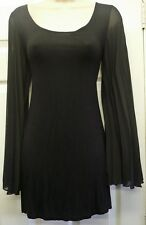 Ladies Parisian Long Pleated Sleeve Black Top Dressy Formal Smart Size 8