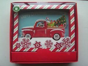 NEW Santa Driving Old RED PICKUP TRUCK CHRISTMAS CARDS Box of 8 Pop Up