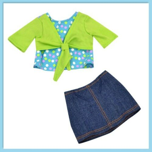 "Doll Clothes 18/"" Jean Skirt Teal Polka Top Lime Shrug Fits AG Dolls"