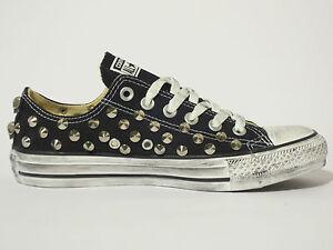 Converse all star OX borchie teschi scarpe donna uomo NERO artigianali