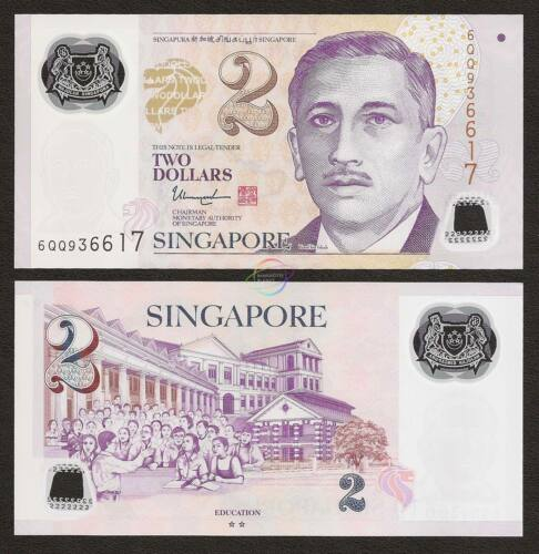 SINGAPORE 2 Dollars w//2 Hollow Star 2017 P-46 Polymer UNC Uncirculated