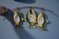 3 Framed Photo Collage Mocked Fishing Pole W/ Dangling Fish 2x3size Wooden/metal