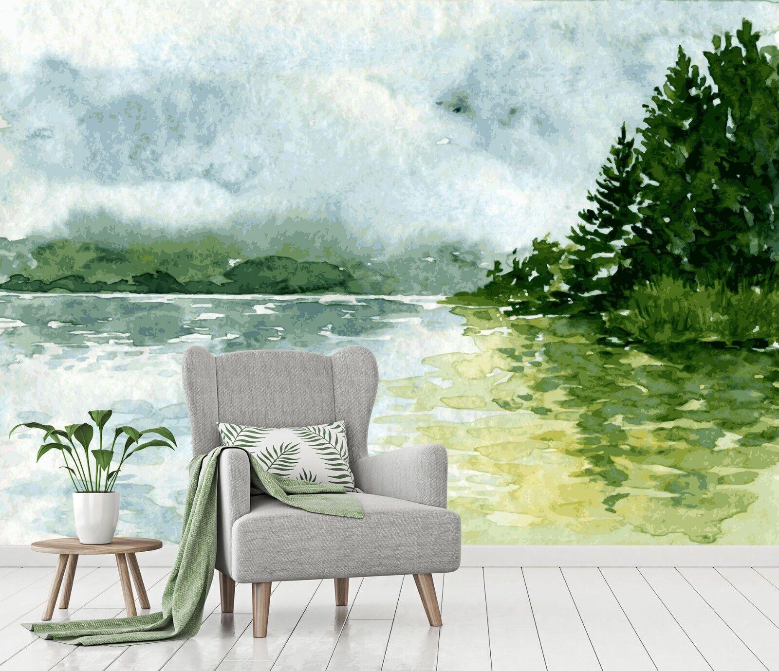 3D Sky Lake Forest 563 Wallpaper Murals Wall Print Wallpaper Mural AJ WALL UK