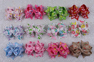 "New 12pcs girl baby mix gift  3"" boutique Hair Bows Grosgrain ribbon 2593-2604"