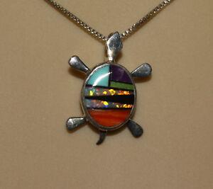 Silver-Turtle-Necklace-by-Calvin-Begay-Navajo