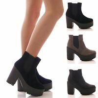 TRUFFLE LADIES CHUNKY PLATFORM WEDGE ANKLE BOOTS CHELSEA ELASTIC SHOES SIZE