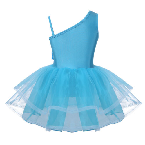 Girls Ballet Ballerina Dance Costume Shiny Sequins Leotard Tutu Skirt Dancewear