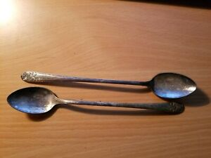 VINTAGE 7.5 INCH ANTIQUE MELODY SILVER PLATE SPOONS..LOT OF 2