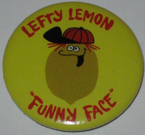 "Funny Face Drink /""Lefty Lemon/"" Advertisement Pin 1.25/"" Licensed"