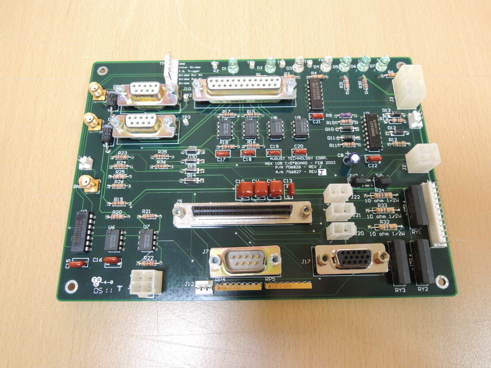 AUGUST TECHNOLOGY CORP. NSX 105 I/O PN 706826 REV J / Free Expedited Shipping