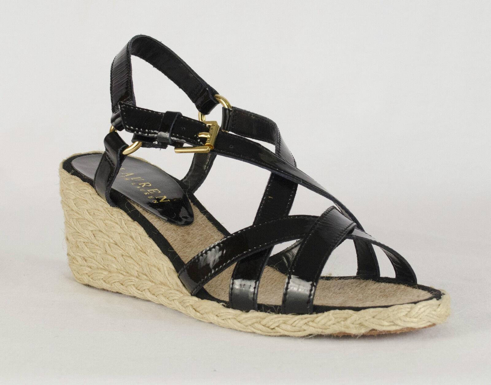 RALPH LAUREN CHRISSY BLACK PATENT Damenschuhe WEDGES SANDALS Schuhe MULTI SIZES AS