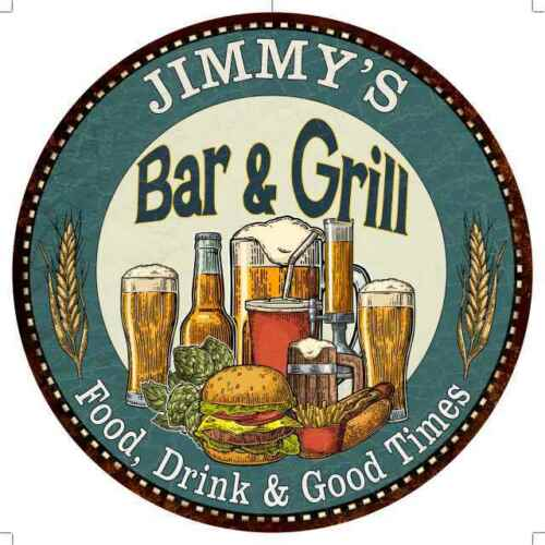 JIMMY/'S Bar and Grill Round Metal Sign Kitchen Wall Decor 100140023186