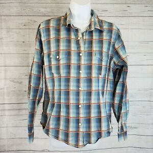 Panhandle-Slim-Womens-Pearl-Snap-Shirt-Sz-Medium-Blue-Plaid-Cotton