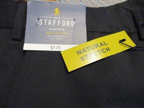 STAFFORD Executive BIG 100/% Wool Black Suit Separates Flat Dress Pants SR$135NEW