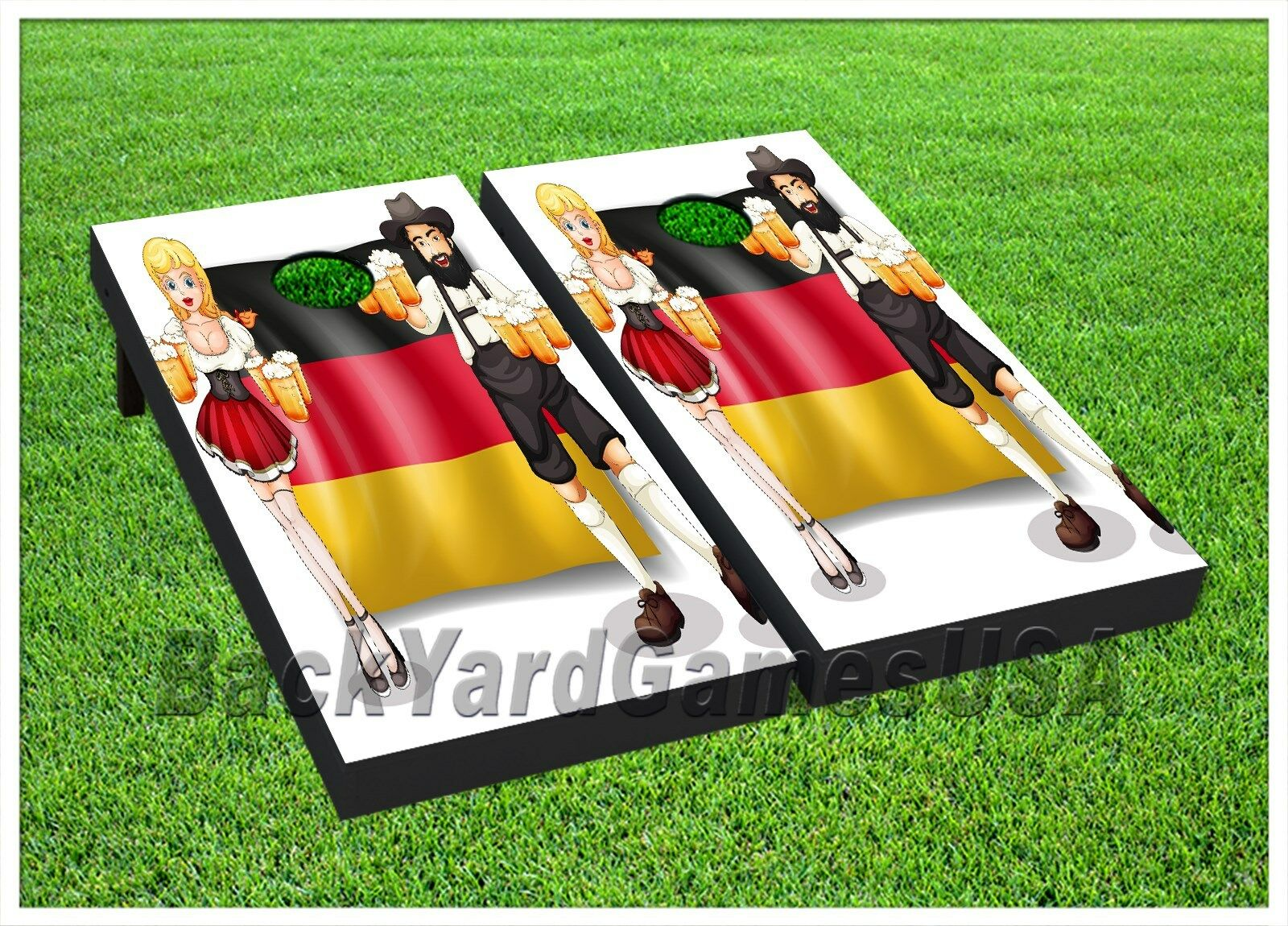 Cornhole Boards BEANBAG TOSS GAME w Bags German Flag Beer Octoberfest Set 417