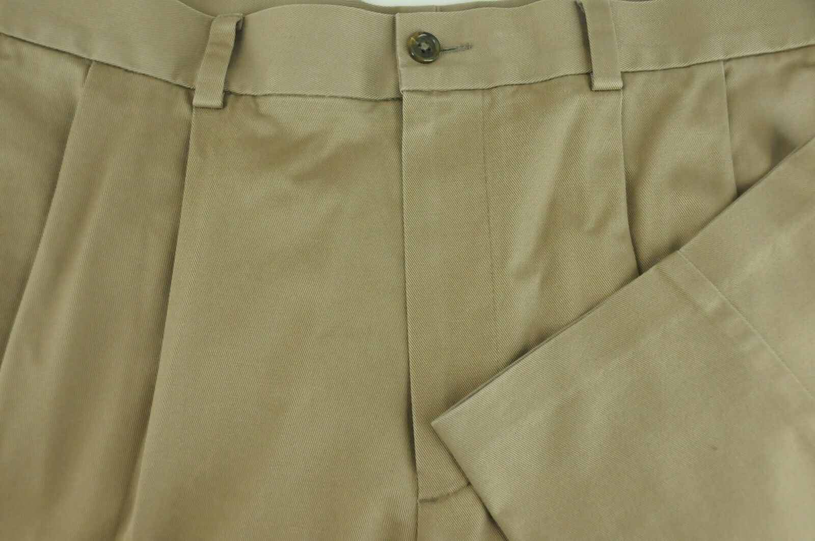 Nordstrom Men's Light Brown Cotton Tencel Pleated Casual Pants 35 x 32