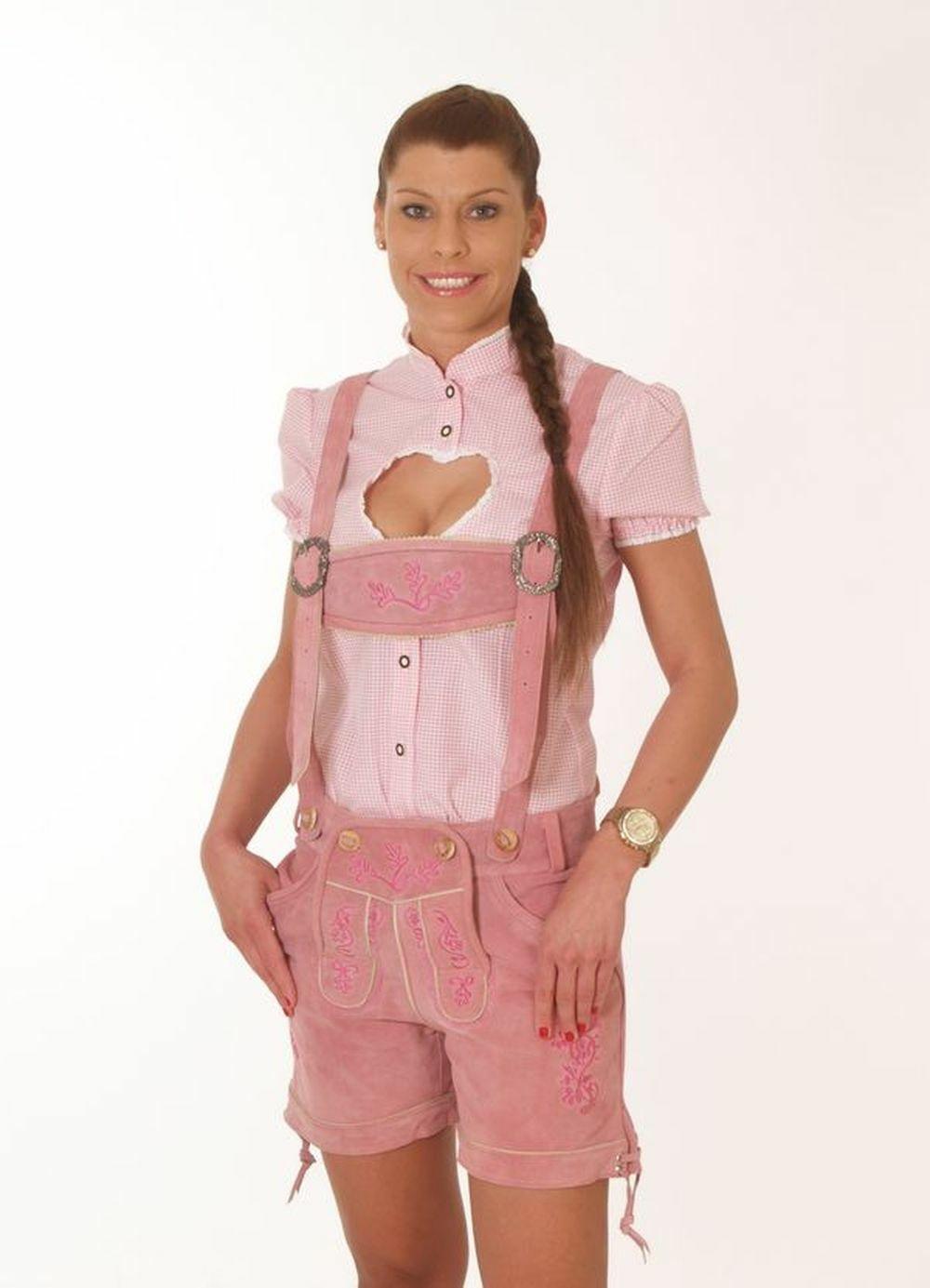Lederhose Damen kurz Hotpant Elena Farbe rose Gr. 34-40
