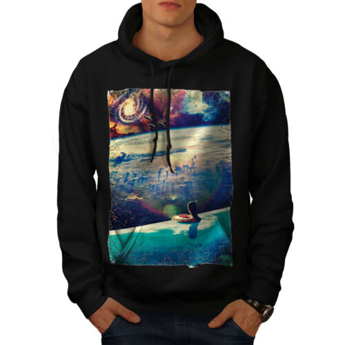 Hoodie Casual New Hooded Wellcoda Swim Mens Sweatshirt Black BqwFFRxp