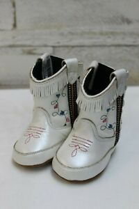 Old-West-Infant-Poppets-Cowboy-Boots-White-w-Blue-amp-Pink-Hearts-Style-10044