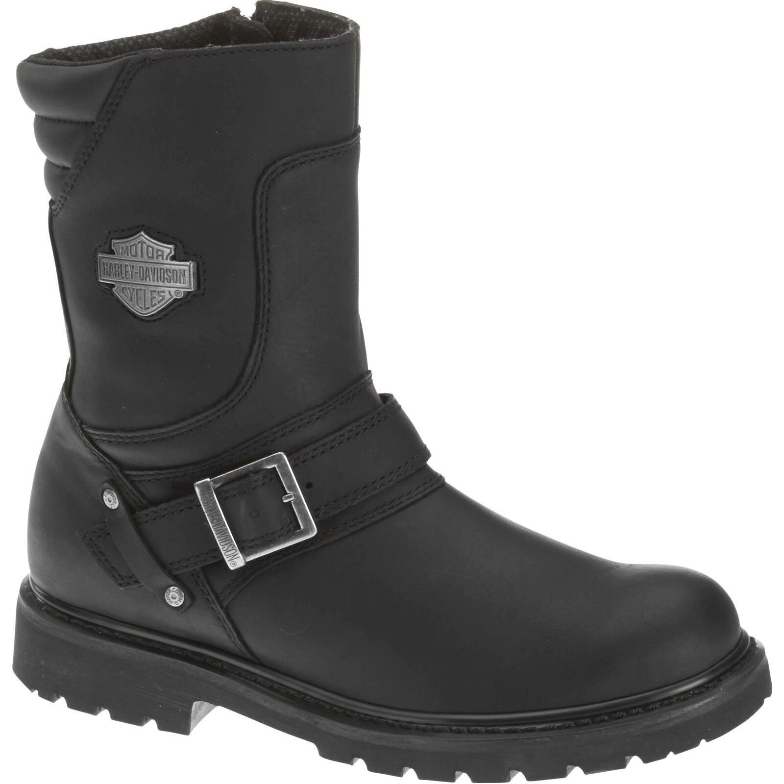 Harley Davidson Booker Leather Motorcycle Riding Zip-Up Front-Strap Mens Boots