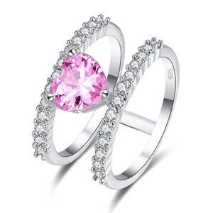 Exquise-Coeur-Sterling-Argent-925-Bijoux-Rose-amp-White-Topaz-Gemstone-Ring