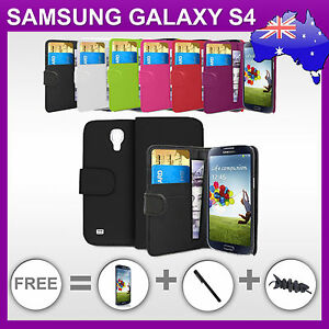 Premium-Samsung-Galaxy-S4-Wallet-Leather-Case-Cover-i9500-i9505-Screen-Protector