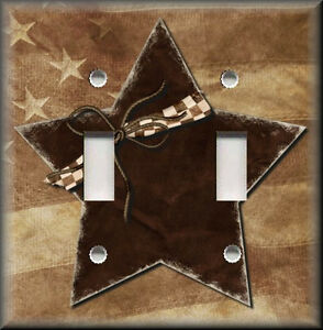 Light switch plate cover brown country star primitive for Country star decorations home