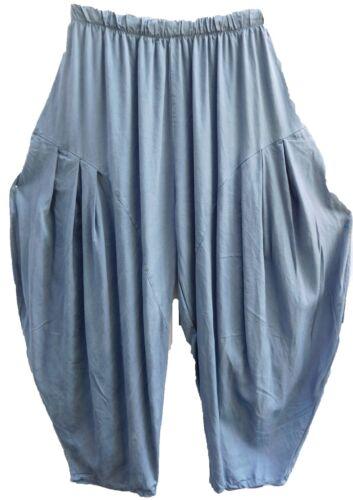 Pantalons Bleu Lagenlook Balloon Large Gr 52 Haremshose Viscose 54 Gummibund Pants Xxl rxYqYwgt