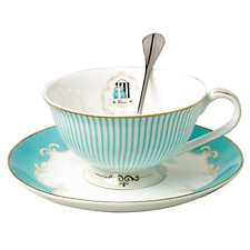 Vintage Blue Bone China Teacup Coffee Cup Spoon and Saucer Luxurious Gold Ban...