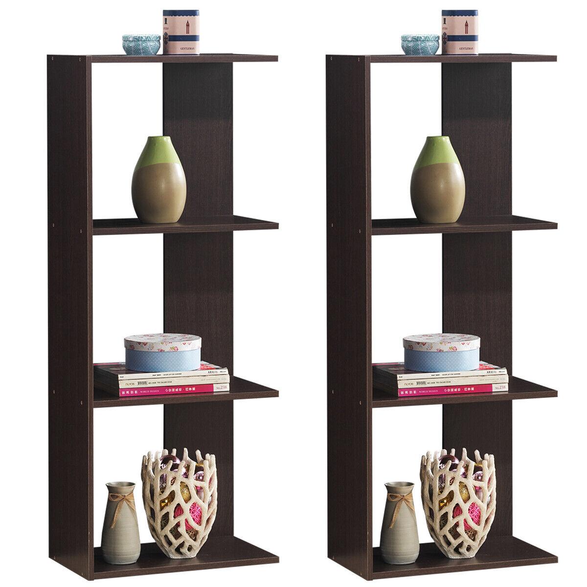 2 Pcs Bookcase Storage 3 Tier Open Shelf Display Living Room Divider Modern