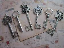 6 x steampunk antique silver skeleton keys wedding vintage style pendants charm