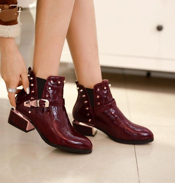 botas tacón de tacón aguja zapatos de tacón de mujer 4 rojo cómodo como piel 8720 0e57e7