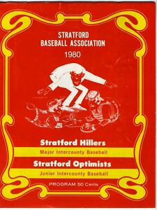 STRATFORD BASEBALL ASSOCIATION 1980 Program ONTARIO Sports Local Ads Hillers