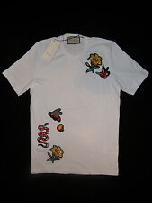 White Embroidery Mens  Snake, Bee, Flower Gucci T-shirt Short Sleeve Size: XL