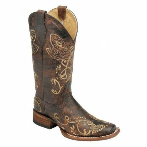 Circle G by Corral Ladies Dragonfly Embroidered Square Toe Boot L5079 New