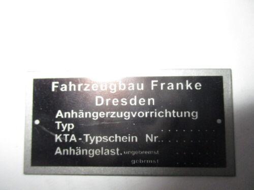 de s57 anexos acoplamiento Wartburg trabant Barkas remolque Franke sin remol Placa de identificación