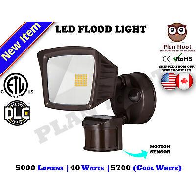 40WT Bronze Motion Sensor Activated ETL DLC LED Flood Outdoor Security Light