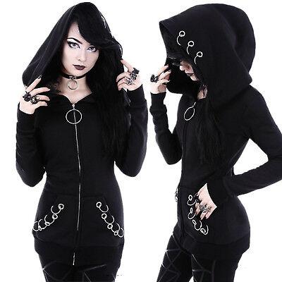 Gothic Women/'s Punk Solid Hooded Sweat Hoodies Jacket Coat Cosplay 3XL 4XL 5XL