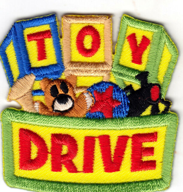 """""""TOY DRIVE""""  IRON ON EMBROIDERED APPLIQUE PATCH/Contributions, Service, Children"""