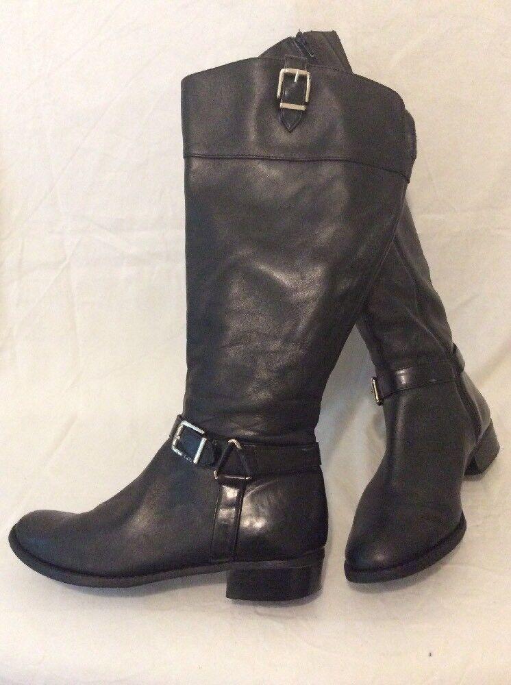 I.N.C International Concept Black Knee High Leather Boots Size 7.5Uk