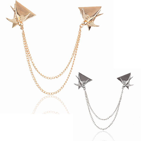 Triangle Swallow Link Neck Clip Shirt Collar Tip Chain Coat Brooch Pin Jewelry