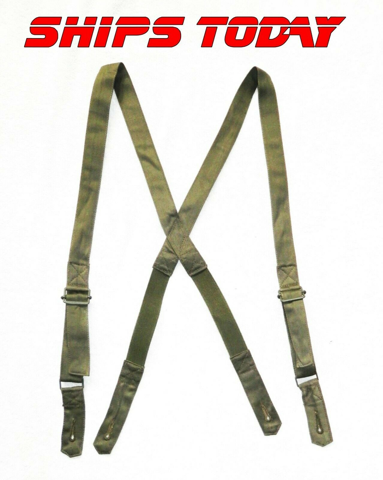New French Military Issue Suspenders 4 Button Elastic Braces Reenactment ECWCS