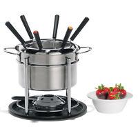 12pc Trudeau Fondue Set Stainless Steel Pot Forks Ceramic Double Boiler Burner on sale