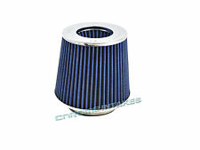 """3/"""" 76mm Flange x 6/"""" H Round Cone Dry Cold Air Short Ram Intake Filter BLUE NEW"""