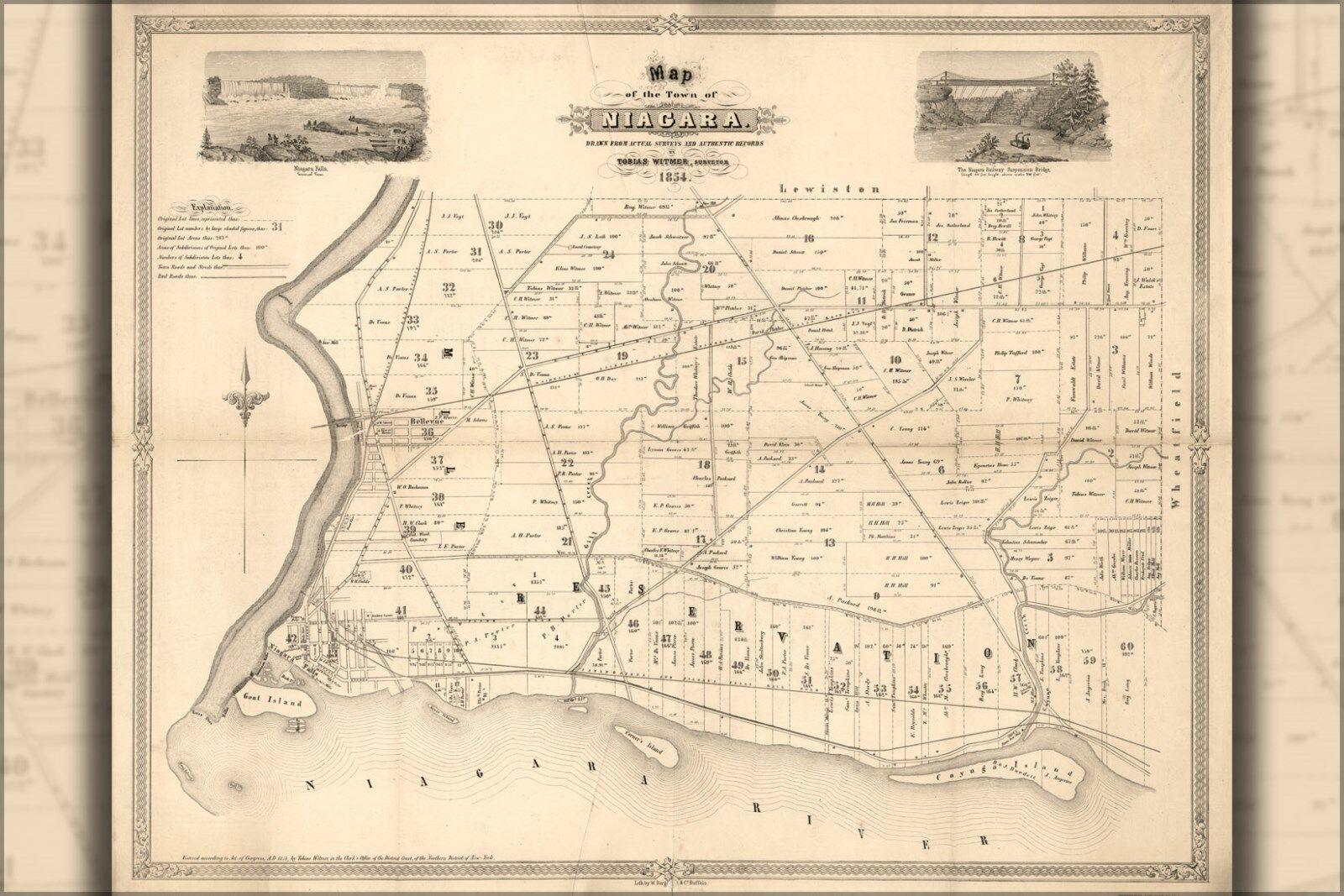 Plakat, Viele Größen; Karte von Niagara New York Niagra Fällt 1854