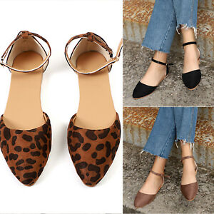 Womens-Flat-Ankle-Strap-Ballerina-Ballet-Dolly-Pumps-Casual-Slip-On-Comfy-Shoes