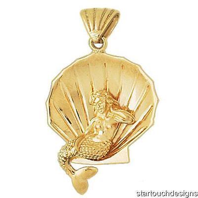 New 14k Yellow Gold 3 D Mermaid With Seashell Pendant Ebay