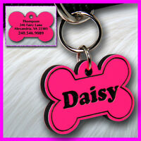 Personalized Custom Engraved Plastic Pet Id Tag 2-sided Bone Shape Pink / Black