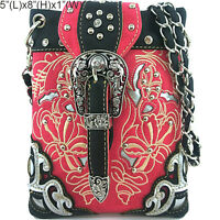 Western Cowgirl Rhinestone Buckle Pink/black Cross Body Purse Long Chain Strap