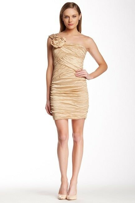 BCBG MAX AZRIA NEW women Anett One Shoulder Taffeta Dress SZ 12 Champagne